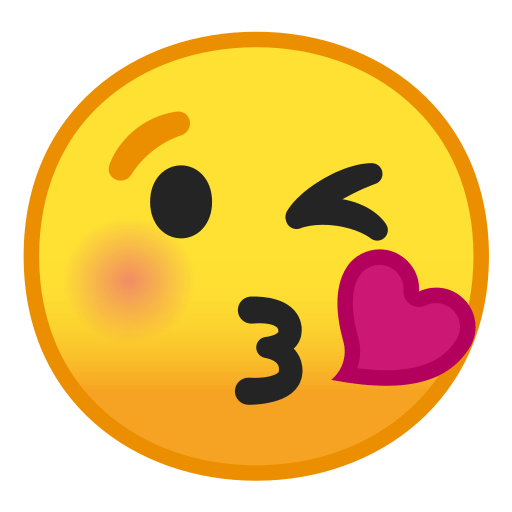 Face throwing a kiss