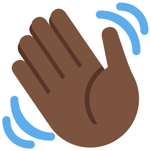 Waving Hand Emoji with Dark Skin Tone Meaning and Pictures