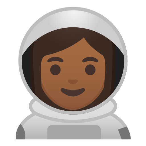 👩🏾 🚀 Woman Astronaut Emoji with Medium-Dark Skin Tone