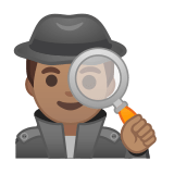 Man Detective Emoji with a Medium Skin Tone, Google style