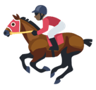 Horse Racing Emoji with a Dark Skin Tone, Facebook style