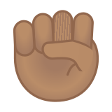Raised Fist Emoji with a Medium Skin Tone, Google style