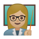 Woman Teacher Emoji with Medium-Light Skin Tone, Google style