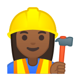 Woman Construction Worker Emoji with a Medium-Dark Skin Tone, Google style