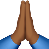 Folded Hands Emoji with Medium-Dark Skin Tone, Apple style