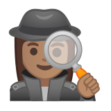 Woman Detective Emoji with a Medium Skin Tone, Google style