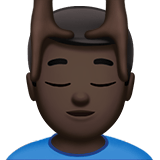 Man Getting Massage Emoji with Dark Skin Tone, Apple style