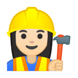 Woman Construction Worker Emoji with a Light Skin Tone, Google style