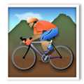 Person Mountain Biking Emoji with a Medium Skin Tone, LG style