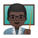 Man Teacher Emoji with Dark Skin Tone, Google style