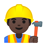Man Construction Worker Emoji with a Dark Skin Tone, Google style