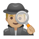 Man Detective Emoji with a Medium-Light Skin Tone, Google style