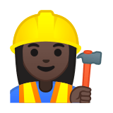 Woman Construction Worker Emoji with a Dark Skin Tone, Google style