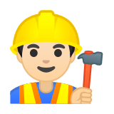 Man Construction Worker Emoji with Light Skin Tone, Google style