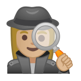 Woman Detective Emoji with a Medium-Light Skin Tone, Google style