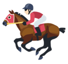 Horse Racing Emoji with Light Skin Tone, Facebook style
