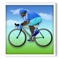 Person Biking Emoji with a Dark Skin Tone, LG style