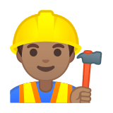 Man Construction Worker Emoji with Medium Skin Tone, Google style