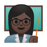 Woman Teacher Emoji with a Dark Skin Tone, Google style