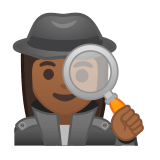 Woman Detective Emoji with a Medium-Dark Skin Tone, Google style