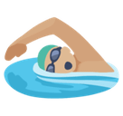 Person Swimming Emoji with a Medium-Light Skin Tone, Facebook style