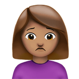 Woman Frowning Emoji with a Medium Skin Tone, Apple style
