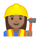 Woman Construction Worker Emoji with a Medium Skin Tone, Google style