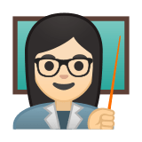 Woman Teacher Emoji with Light Skin Tone, Google style
