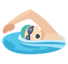 Person Swimming Emoji with Light Skin Tone, Facebook style