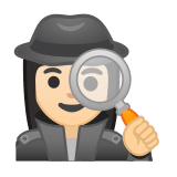 Woman Detective Emoji with a Light Skin Tone, Google style