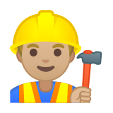Man Construction Worker Emoji with a Medium-Light Skin Tone, Google style