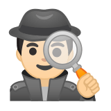 Man Detective Emoji with Light Skin Tone, Google style