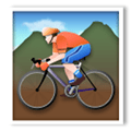 Person Mountain Biking Emoji with Light Skin Tone, LG style