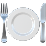 Fork and Knife with Plate Emoji, Apple style