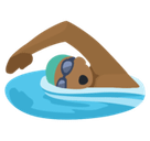 Person Swimming Emoji with Medium-Dark Skin Tone, Facebook style