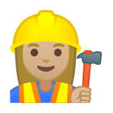 Woman Construction Worker Emoji with a Medium-Light Skin Tone, Google style