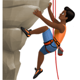 Man Climbing Emoji with Medium-Dark Skin Tone, Apple style