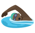 Person Swimming Emoji with a Dark Skin Tone, Facebook style