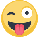 Crazy Emoji / Face with Stuck-Out Tongue & Winking Eye Emoji, Facebook style
