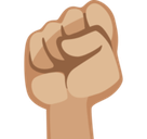 Raised Fist Emoji with a Medium-Light Skin Tone, Facebook style