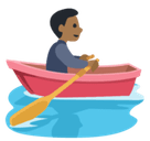 Man Rowing Boat Emoji with Medium-Dark Skin Tone, Facebook style