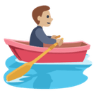 Man Rowing Boat Emoji with Medium-Light Skin Tone, Facebook style