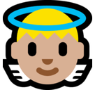 Baby Angel Emoji with a Medium-Light Skin Tone, Microsoft style