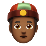 Man with Chinese Cap Emoji with a Medium-Dark Skin Tone, Apple style
