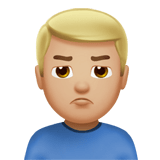 Man Pouting Emoji with a Medium-Light Skin Tone, Apple style