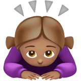 Woman Bowing Emoji with Medium Skin Tone, Apple style