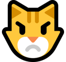 Pouting Cat Face Emoji, Microsoft style