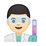 Man Scientist Emoji with a Light Skin Tone, Google style