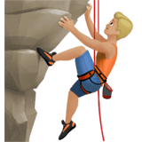 Man Climbing Emoji with Medium-Light Skin Tone, Apple style
