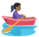 Woman Rowing Boat Emoji with Medium-Dark Skin Tone, Facebook style